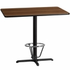 30'' x 48'' Rectangular Walnut Laminate Table Top with 22'' x 30'' Bar Height Table Base and Foot Ring [XU-WALTB-3048-T2230B-3CFR-GG]