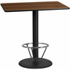 30'' x 48'' Rectangular Walnut Laminate Table Top with 24'' Round Bar Height Table Base and Foot Ring [XU-WALTB-3048-TR24B-4CFR-GG]