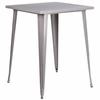 31.5'' Square Silver Metal Indoor-Outdoor Bar Height Table [CH-51040-40-SIL-GG]