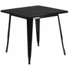 31.5'' Square Black Metal Indoor-Outdoor Table [ET-CT002-1-BK-GG]