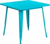 31.5'' Square Crystal Teal-Blue Metal Indoor-Outdoor Table [ET-CT002-1-CB-GG]