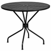 35.25'' Round Black Indoor-Outdoor Steel Patio Table [CO-7-BK-GG]