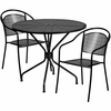 35.25'' Round Black Indoor-Outdoor Steel Patio Table Set with 2 Round Back Chairs [CO-35RD-03CHR2-BK-GG]