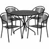 35.25'' Round Black Indoor-Outdoor Steel Patio Table Set with 4 Round Back Chairs [CO-35RD-03CHR4-BK-GG]