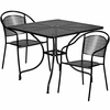35.5'' Square Black Indoor-Outdoor Steel Patio Table Set with 2 Round Back Chairs [CO-35SQ-03CHR2-BK-GG]