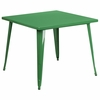 35.5'' Square Green Metal Indoor-Outdoor Table [CH-51050-29-GN-GG]