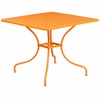35.5'' Square Orange Indoor-Outdoor Steel Patio Table [CO-6-OR-GG]
