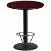 36'' Round Mahogany Laminate Table Top with 24'' Round Bar Height Table Base and Foot Ring [XU-RD-36-MAHTB-TR24B-4CFR-GG]