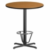 36'' Round Natural Laminate Table Top with 30'' x 30'' Bar Height Table Base and Foot Ring [XU-RD-36-NATTB-T3030B-3CFR-GG]