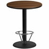 36'' Round Walnut Laminate Table Top with 24'' Round Bar Height Table Base and Foot Ring [XU-RD-36-WALTB-TR24B-4CFR-GG]