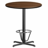 36'' Round Walnut Laminate Table Top with 30'' x 30'' Bar Height Table Base and Foot Ring [XU-RD-36-WALTB-T3030B-3CFR-GG]