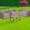 4 Piece Outdoor Faux Rattan Chair,Loveseat and Table Set in Charcoal [DAD-SF-112T-CRC-GG]