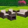 4 Piece Outdoor Faux Rattan Chair,Loveseat and Table Set in Chocolate Brown [DAD-SF-112T-CBN-GG]