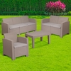4 Piece Outdoor Faux Rattan Chair,Loveseat,Sofa and Table Set in Charcoal [DAD-SF-123T-CRC-GG]
