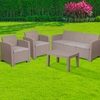 4 Piece Outdoor Faux Rattan Chair,Sofa and Table Set in Charcoal [DAD-SF-113T-CRC-GG]