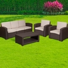 4 Piece Outdoor Faux Rattan Chair,Sofa and Table Set in Chocolate Brown [DAD-SF-113T-CBN-GG]