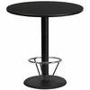 42'' Round Black Laminate Table Top with 24'' Round Bar Height Table Base and Foot Ring [XU-RD-42-BLKTB-TR24B-4CFR-GG]