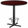 42'' Round Mahogany Laminate Table Top with 33'' x 33'' Bar Height Table Base and Foot Ring [XU-RD-42-MAHTB-T3333B-4CFR-GG]