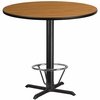 42'' Round Natural Laminate Table Top with 33'' x 33'' Bar Height Table Base and Foot Ring [XU-RD-42-NATTB-T3333B-4CFR-GG]