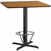 42'' Square Natural Laminate Table Top with 33'' x 33'' Bar Height Table Base and Foot Ring [XU-NATTB-4242-T3333B-4CFR-GG]