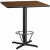 42'' Square Walnut Laminate Table Top with 33'' x 33'' Bar Height Table Base and Foot Ring [XU-WALTB-4242-T3333B-4CFR-GG]