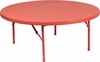 48'' Round Kid's Red Plastic Folding Table [RB-48R-KID-RD-GG]