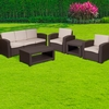 5 Piece Outdoor Faux Rattan Chair,Sofa and Table Set in Chocolate Brown [DAD-SF-113TEE-CBN-GG]