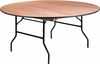 66'' Round Wood Folding Banquet Table with Clear Coated Finished Top [YT-WRFT66-TBL-GG]