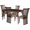 Addington 5 Piece Espresso Wood Dining Table Set with Dramatic Rail Back Design Wood Dining Chairs - Padded Seats [ES-6-GG]