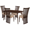 Addington 5 Piece Walnut Wood Dining Table Set with Dramatic Rail Back Design Wood Dining Chairs - Padded Seats [ES-20-GG]