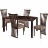 Addison 5 Piece Espresso Wood Dining Table Set with Dramatic Rail Back Design Wood Dining Chairs - Padded Seats [ES-34-GG]