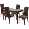 Albany 5 Piece Espresso Wood Dining Table Set with Glass Top and Wide Slat Back Wood Dining Chairs - Padded Seats [ES-85-GG]