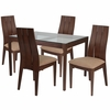 Albany 5 Piece Walnut Wood Dining Table Set with Glass Top and Wide Slat Back Wood Dining Chairs - Padded Seats [ES-99-GG]