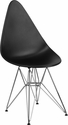 Allegra Series Teardrop Black Plastic Chair with Chrome Base [FH-251-CPP-BK-GG]