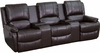 Allure Series 3-Seat Reclining Pillow Back Brown Leather Theater Seating Unit with Cup Holders [BT-70295-3-BRN-GG]