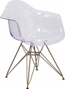 Alonza Series Transparent Side Chair with Gold Frame [FH-132-CPC1-GG]