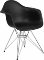 Alonza Series Black Plastic Chair with Chrome Base [FH-132-CPP1-BK-GG]