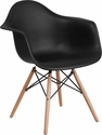 Alonza Series Black Plastic Chair with Wood Base [FH-132-DPP-BK-GG]