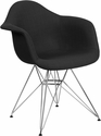 Alonza Series Genoa Black Fabric Chair with Chrome Base [FH-132-CCV1-FC01-GG]