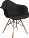 Alonza Series Genoa Black Fabric Chair with Wood Base [FH-132-DCV1-FC01-GG]