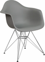 Alonza Series Moss Gray Plastic Chair with Chrome Base [FH-132-CPP1-GY-GG]