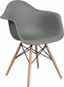 Alonza Series Moss Gray Plastic Chair with Wood Base [FH-132-DPP-GY-GG]