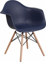 Alonza Series Navy Plastic Chair with Wood Base [FH-132-DPP-NY-GG]