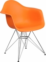 Alonza Series Orange Plastic Chair with Chrome Base [FH-132-CPP1-OR-GG]