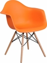 Alonza Series Orange Plastic Chair with Wood Base [FH-132-DPP-OR-GG]