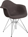 Alonza Series Siena Gray Fabric Chair with Chrome Base [FH-132-CCV1-FC100-GG]