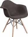 Alonza Series Siena Gray Fabric Chair with Wood Base [FH-132-DCV1-FC100-GG]