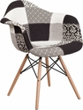 Alonza Series Turin Patchwork Fabric Chair with Wood Base [FH-132-DCV1-PK4-GG]