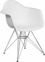 Alonza Series White Plastic Chair with Chrome Base [FH-132-CPP1-WH-GG]