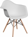 Alonza Series White Plastic Chair with Wood Base [FH-132-DPP-WH-GG]